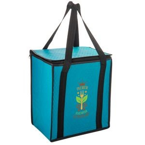 Insulated Non-Woven Tote Bag With Square Zippered Top & Poly Board Insert